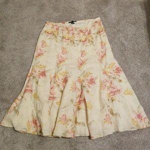 Ralph Lauren Floral Linen Full Skirt Size 8